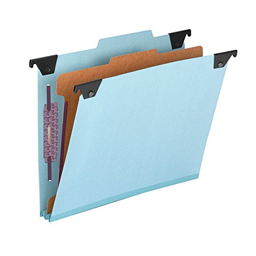 (Smead FasTab Hanging Pressboard Classification File Folder with SafeSHIELD Fastener, 1 Divider, 2/5-Cut Built-in Tab, Letter Size, Blue 10 per Box (65105))