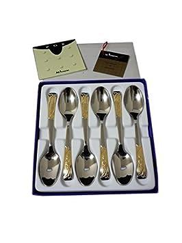 Juego de cubiertos de postre de oro Gold Cambridge,juego de 6 cucharillas de postre fabricado en Italia,con certificado de garantía de la calidad: ...