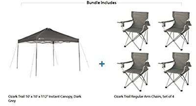 Ozark Trail Instant Straight Leg canopy tent 10 x 10 with 4 Camp Chairs Value Bundle, Dark Grey