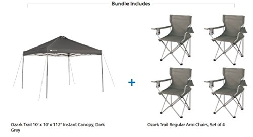 Ozark Trail Instant Straight Leg canopy tent 10 x 10 with 4 Camp Chairs Value Bundle, Dark - Full Movie Glue