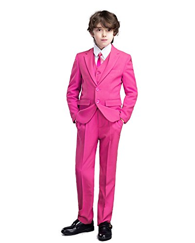 Yanlu 5 Piece Boys Suits Solid Dress Boy Tuxedo Jacket Vest Pants Shirt and Tie Size 3T Pink -