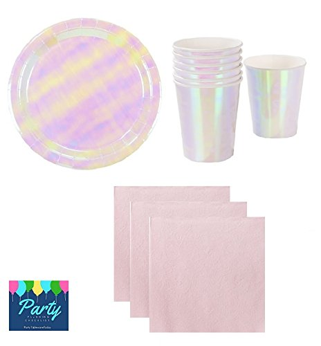 Iridescent Party Supplies, Pink Gold Silver Shiny Plates Napkins And Cups for 12 Guests Including: Dinner/Luncheon Plates, Cups And Napkins (Shiny Gold Plate)