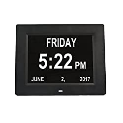 MairGwall 8 Inch Digital Non-Abbreviated Calendar Day Clock for Seniors Impaired Vision Elderly (Black)