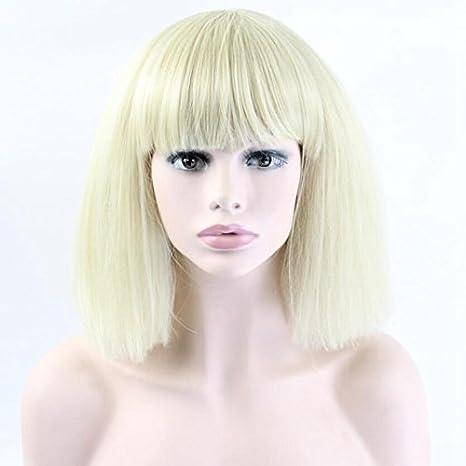 """14 """"corto recto peluca de pelo sintético peluca para disfraz de dos tonos color"""