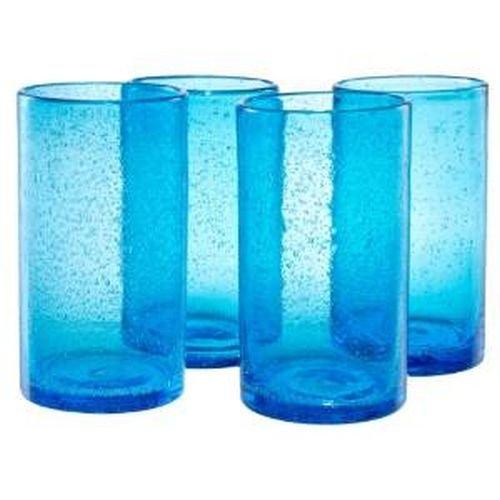 Artland Iris Highball Glasses, Turquoise, Set of 4 Hi Ball Glass Set