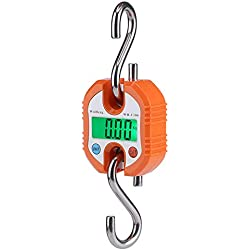Digital Professional Portable Crane 150 Kg LCD Digital Electronic Hook Hanging Scales Loop Weighing Balance for Home Farm Factory Hunting Outdoor(Orange)