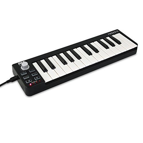 Pyle Mini USB MIDI Controller Keyboard - 25 Key Portable Audio Recording Workstation Equipment - Hardware Buttons Control any DAW Software for Laptop Computer Electronic Music Production - PMIDIKB10