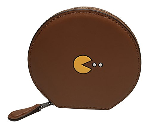 Coach PAC-MAN Calf Leather Round Coin Case Wallet, F54871 (Saddle)