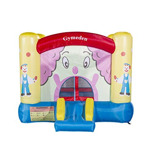 Gymeden Inflatable Castle Bounce House with Pump Blower for Kids Birthday Party Jumping Inflatable Indoor Outdoor playset Bouncy House Castle Roller Coaster Trampoline Playground with Clown Image