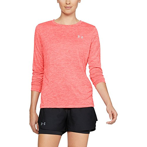 Under Armour Women's Tech Twist Crew Long sleeve, After Burn (877)/Metallic Silver, Medium