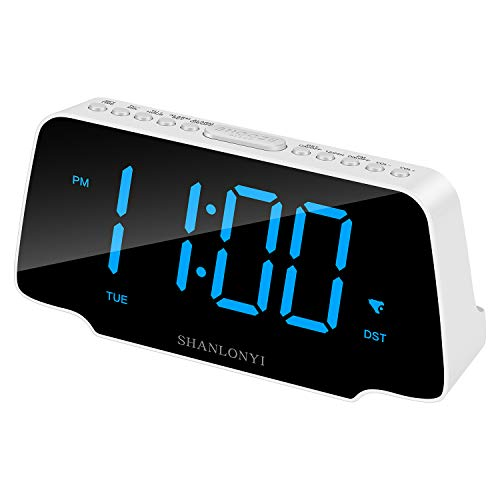 SHANLONYI Digital Alarm Clock with 9'' LED Display, 3 Dimmer, Snooze, FM Radio, 12/24H, Auto DST, Battery Backup &USB Charging for Smartphone, Daylight for Kids