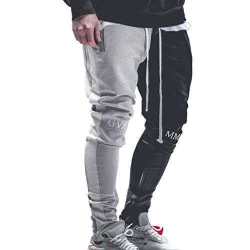 Dreamyth-Pants Men's Casual Solid Color Loose Patchwork Color Sweatpant Trousers Jogger Pant (Gray, XL - Colour 78