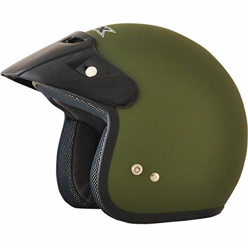 AFX FX-75 Unisex-Child Half-Size-Helmet-Style Youth Helmet (Flat Olive, Small)