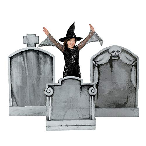 Fun Express - Tombstone Standup (3pc) for Halloween - Party Decor - Large Decor - Floor Stand Ups - Halloween - 3 Pieces]()