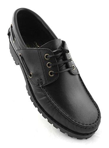Zerimar | Chaussures De Bateau | Chaussures De Bateau Pour Hommes | Lacets De Chaussures De Bateau | Chaussures De Bateau En Cuir Noir