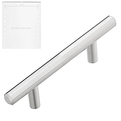 "Lizavo 701-030SN Brushed Satin Nickel Cabinet Pulls Solid Modern Euro Style T Bar Kitchen Cabinet Handles- 3 inch Hole Centers, 5-1/4"" Overall Length- 10 Pack"