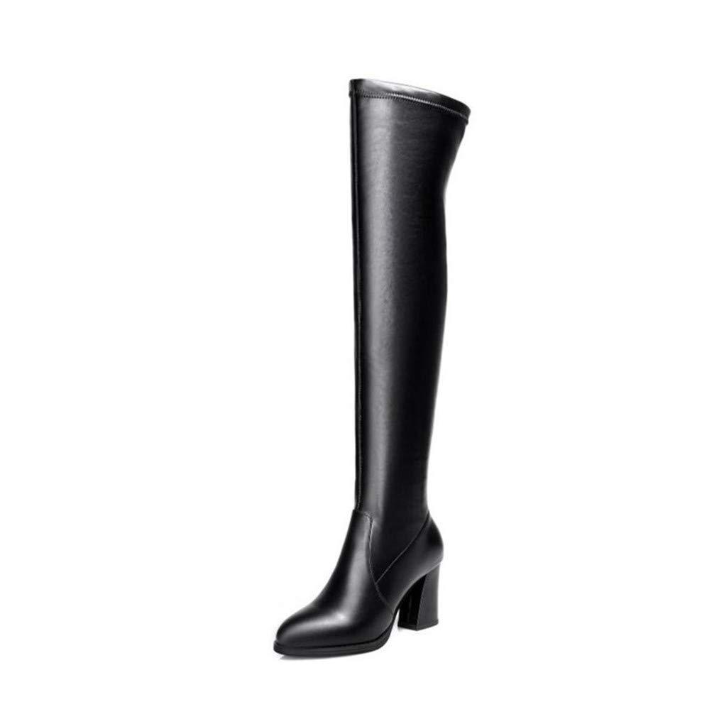 HAOLIEQUAN Frauen High Heels Stiefel Frauen Overknee Stiefel Dicke Heels Damenschuhe Mode Winter Stiefel Größe 34-42