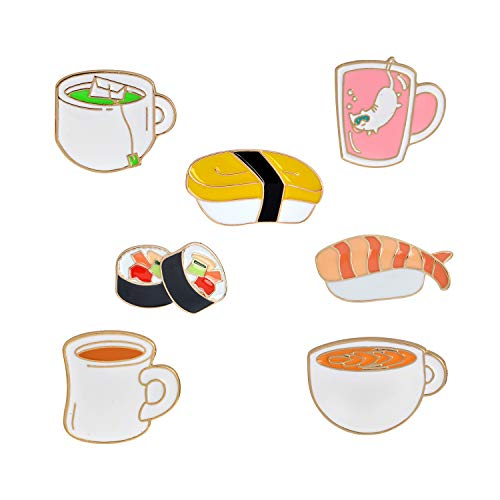RINHOO FRIENDSHIP Cute Enamel Lapel Pin Sets Carton Animal Plant Book Colorful Badge for Clothes Bags Decor (Tea Bread Sushi Set of 7)