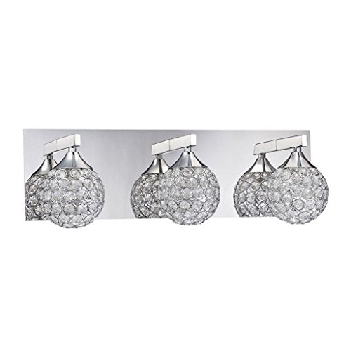 Kendal Lighting VF4200-3L-CH Crys 3-Light Vanity Fixture, Chrome Finish and Optic Crystal Jewel (3l Bath Sconce)