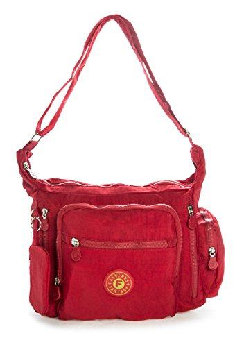 tela mujer Shop para Rojo de Bolso Oscuro cruzados One Big Handbag 0qOBXX