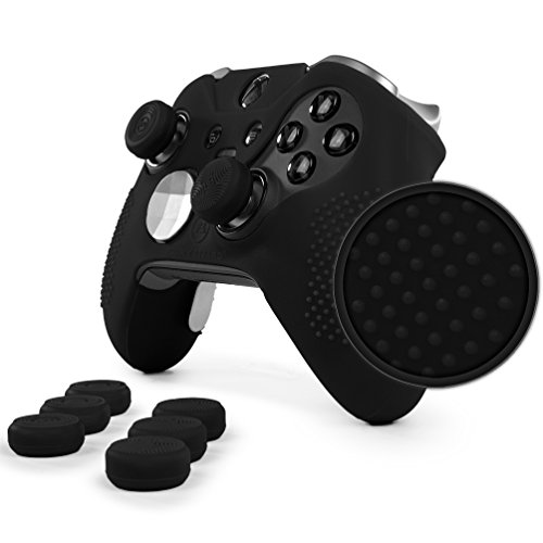 ElitePro Grip STUDDED Skin Set for Xbox One ELITE Controller by Foamy Lizard ® Sweat Free Silicone Skin w/ Raised Anti-slip Studs PLUS set of 8 QSX-Elite Thumb Grips (SKIN + QSX-E GRIPS, BLACK)