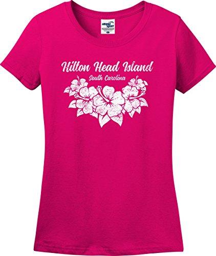 - Hilton Head Island South Carolina Hibiscus Flowers Ladies T-Shirt (S-3X) (Ladies Medium, Heliconia)