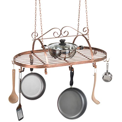 Bronze-Tone Scrollwork Metal Ceiling Mounted Hanging Rack for Kitchen Utensils, Pots, Pans Holder ()