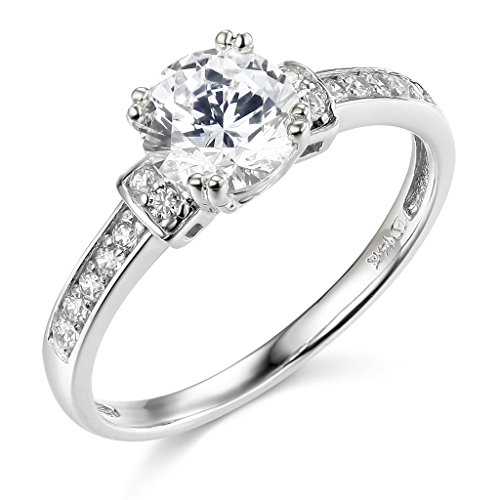 14K White Gold Round-cut Solitaire with Side Stone CZ Cubic Zirconia 1.25 CT Equivalent Ladies Wedding Engagement Ring Band – Size 7.5