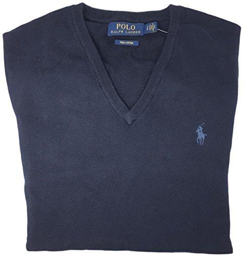 Polo Ralph Lauren Mens Pima Cotton V-Neck Sweater (XX-Large, Navy Blue)