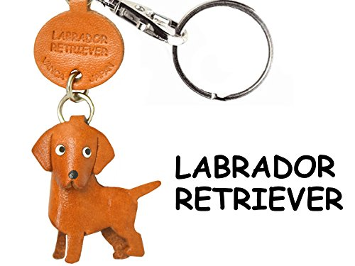 Leather Dog Key Ring - Labrador Retriever Leather Dog Small Keychain VANCA CRAFT-Collectible Keyring Charm Pendant Made in Japan