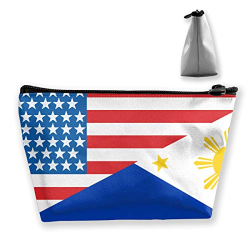 Trapezoid Storage Bag Buggy Bag Travel&Home Bag - Half USA Half Philippines Flag Printed Cosmetic Bags Toiletry Bag Make-up Receive - Fashion (Best Breast Pump Philippines)