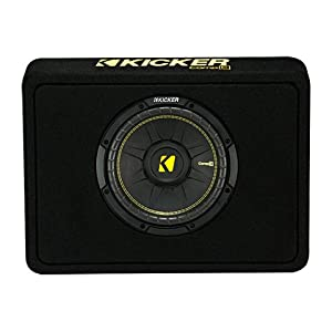 Kicker 10-Inch CompC 2-Ohm Loaded Shallow Subwoofer Box Enclosure | 44TCWC102