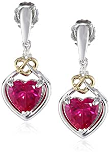 Sterling Silver and 14k Yellow Gold Created Ruby and Diamond Heart Shape Drop Earrings