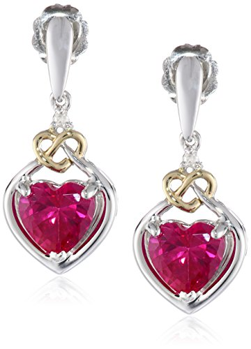 Sterling Silver and 14k Yellow Gold Created Ruby and Diamond Heart Shape Drop Earrings (Gold 14k Heart Earrings Diamond)