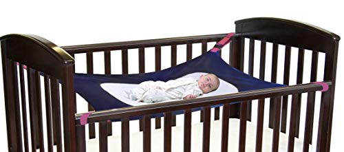 Baby Hammock for Crib, Soft and Comfortable Material with Strong Adjustable Straps, Mimics The Womb, Upgraded Safety Measures, Newborn Hammock by Cherubs (Blue)
