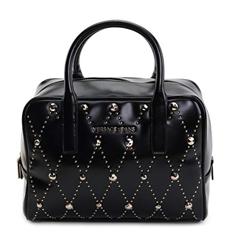 (Versace Jeans Women's Quilted Studded Satchel No Size (Nero))