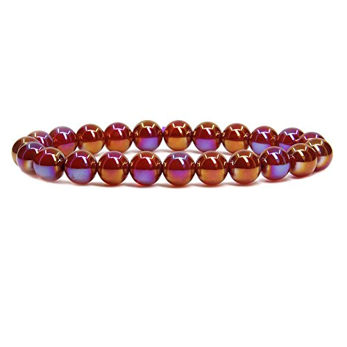 Agate Multi Color Crystal - Amandastone Multicolor Plated Red Agate Gem Semi Precious Gemstone 8mm Ball Beads Stretch Bracelet 7