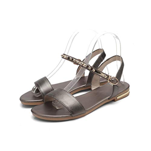 Genuine Leather Women Flats Sandals Casual Buckle Strap Shoes,030-71-Champagne,8.5