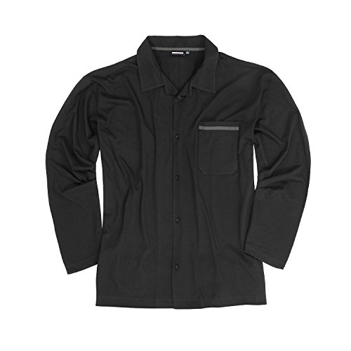 Langer Schlafanzug 'BENNO' mit Knopfleiste in schwarz von Adamo bis Übergröße 10XL
