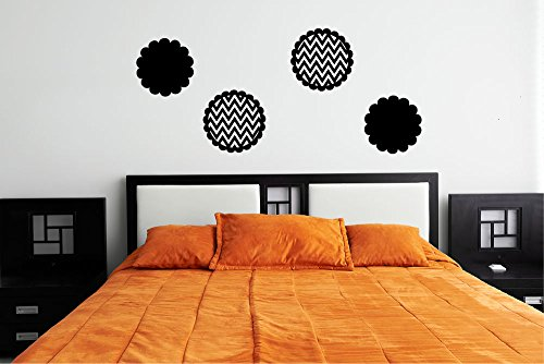 Scalloped Chevron and Solid Polka Dots Vinyl Wall Words Decal Sticker Graphic (Scalloped Circle Shapes)