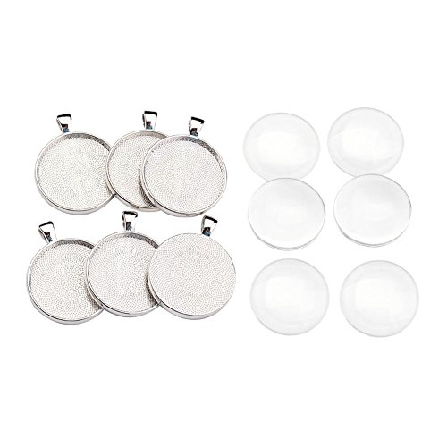 Pandahall 6 Sets Platinum Flat Round Blanks Cameo Bezel Pendant Tray Cabochon Settings with 30mm Clear Glass Dome Tiles Cabochons -