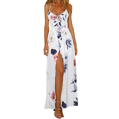 F_Gotal Womens Dresses Summer Casual Boho Print Long Maxi Dress Backless Fashion Beach Sundress Party Cocktail White