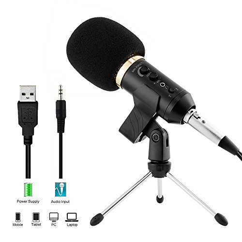 Phone Computer Recording Microphone for Podcast with Voice Monitor, Professional Studio Condenser Microphone Cardioid Pickup, Compatible Phone, Computer, Laptop, Mac by Archeer