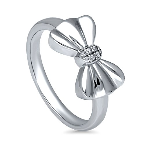 BERRICLE Rhodium Plated Sterling Silver Cubic Zirconia CZ Bow Tie Fashion Right Hand Ring Size 9 (Sterling Bow Ring)