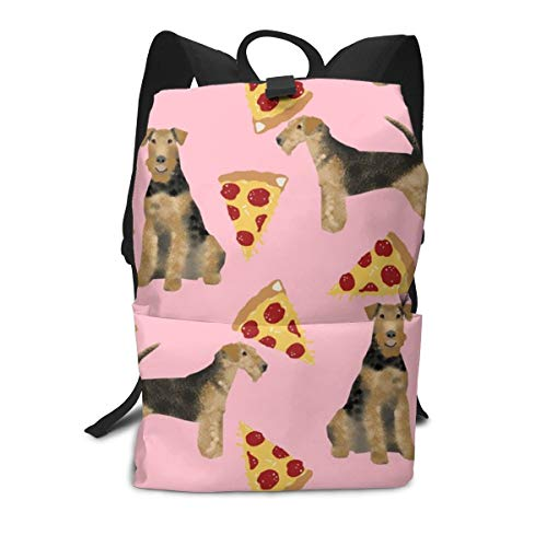 Backpack airedale terrier dog cute dogs food funny pizza pink Laptop Backpack Student School Bookbag Casual Durable Rucksack Travel Daypack