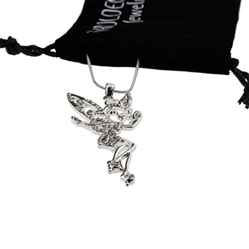 [Silver Crystal Fairy Angel Wing Tinkerbell Mood Necklace Jewelry Pendant Best for Women Little Teen] (Tinkerbell Fairy Costumes For Women)