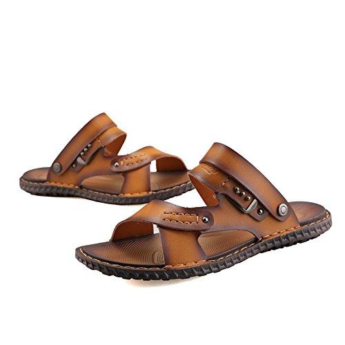 Primavera ed estate Nuovi modelli sandali Scarpe da spiaggia Sutura manuale Scarpe da giovanotto giovanile giovanile di tendenza giovanile, giallo, UK = 8, EU = 42