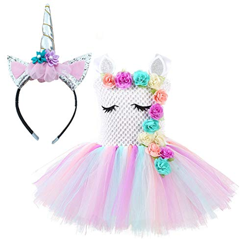 Unicorn Costume for Girls Dress Up Clothes for Little Girls Rainbow Unicorn Tutu with Headband Birthday Gift ()