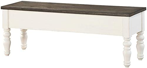 Steve Silver Joanna Storage Bench in Ivory and Charcoal Finish JA500BN