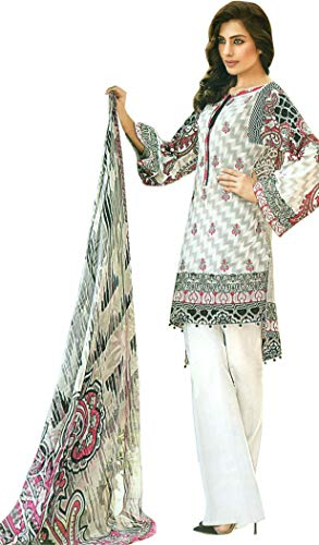 Exotic India Lily-White Digital-Printed Palazzo Salwar Kameez Suit with Chiffon Dupatta Size Medium